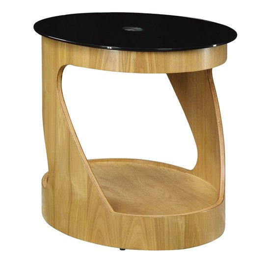 BentWood Side Table Oval In Black Glass Top With Walnut Base