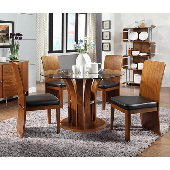 Curve Round Glass Dining Table And 4 Walnut Chairs