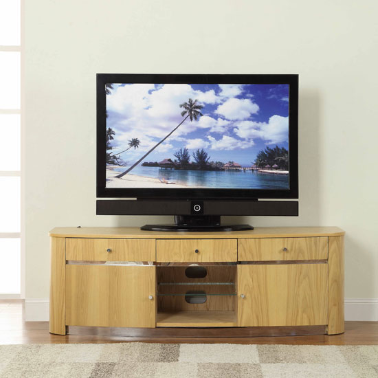 Janny LCD TV Stand In Oak With Concealed LED Lights