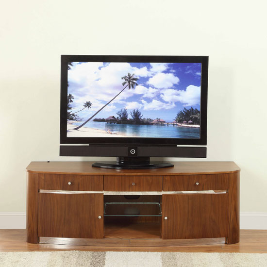 Janny LCD TV Stand In Walnut With Concealed LED Lights