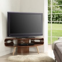 View Marin corner tv stand in walnut and solid ash spindle shape legs