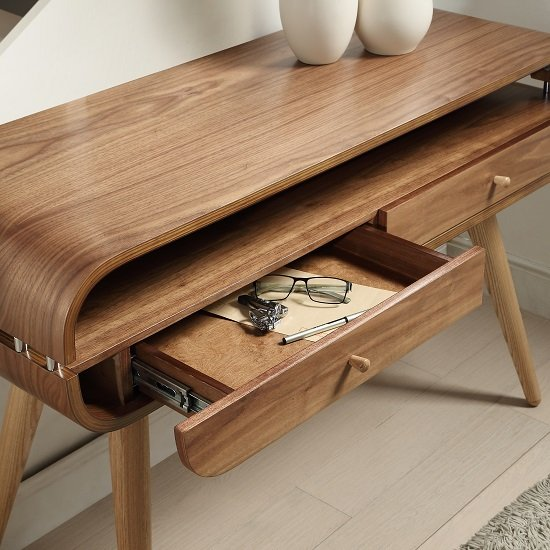 Marin Console Table In Walnut With Solid Ash Spindle Shape Legs_3