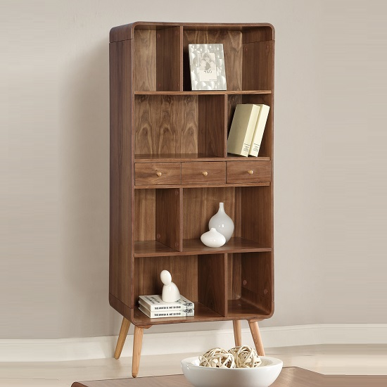 marin wide bookcase in walnut with solid ash spindle legs