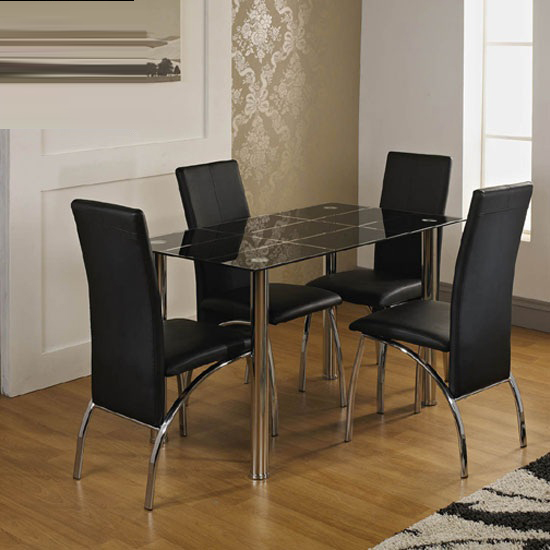 janet dining table in black glass top with 4 aston dining. Black Bedroom Furniture Sets. Home Design Ideas