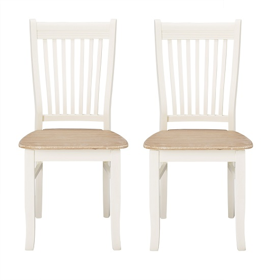 Julian Dining Chair In Distressed Effect Wooden Seat in A Pair_1