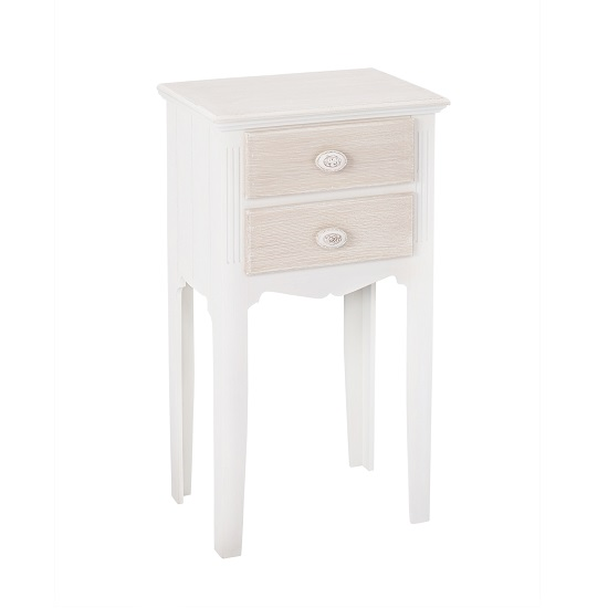 Julian Bedside Table In Solid Pine With 2 Drawers