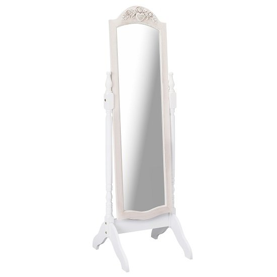 Julian Cheval Floor Mirror In White And Distressed Effect Wooden