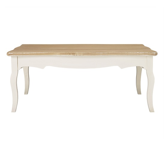 Julian Coffee Table In Distressed Wooden Top And Cream Legs_2