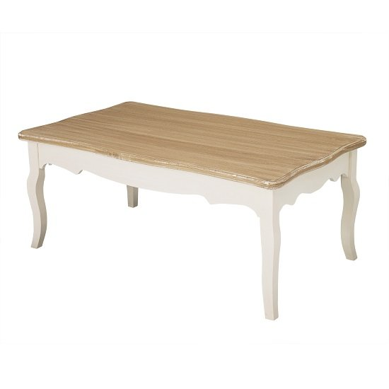 Julian Coffee Table In Distressed Wooden Top And Cream Legs