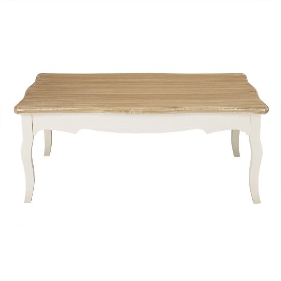 Julian Coffee Table In Distressed Wooden Top And Cream Legs_1