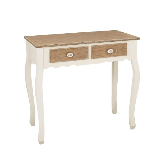 Photo of Julian console table in distressed wooden top and cream legs