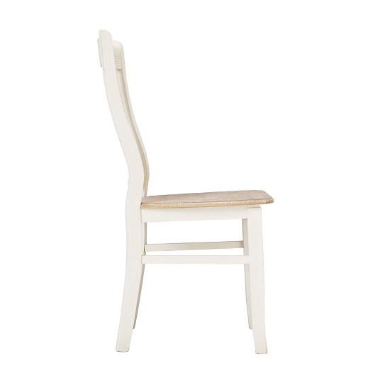 Julian Dining Chair In Distressed Effect Wooden Seat in A Pair_2