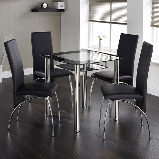 Buy Modern Glass Dining Table With 4 Chairs