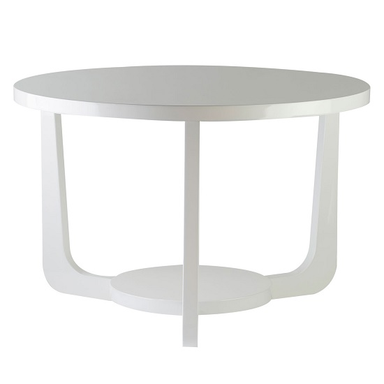 Jadon Modern Side Table Round In White High Gloss
