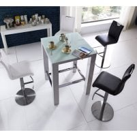 Read more about Jam glass bar table square in white gloss with 4 alesi stools