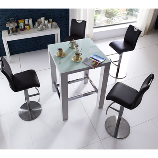 Read more about Jam glass bar table in white gloss with 4 alesi black stool