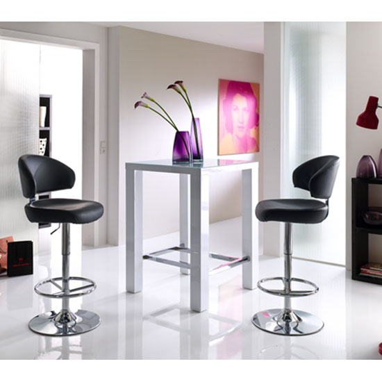 Read more about Jam glass bar table in white high gloss with 2 bingo stools
