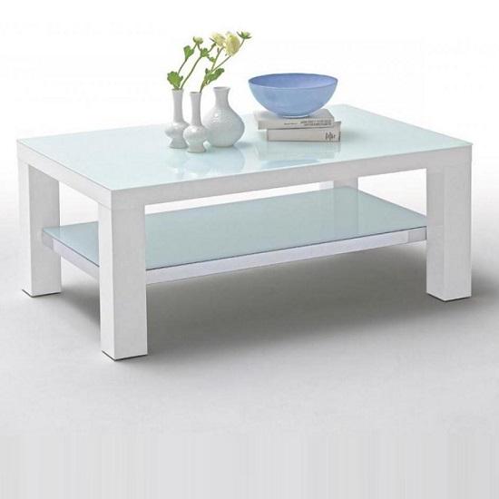 Rectangular Glass Coffee Tables Uk: Cromer Glass Coffee Table Rectangular In White High Gloss