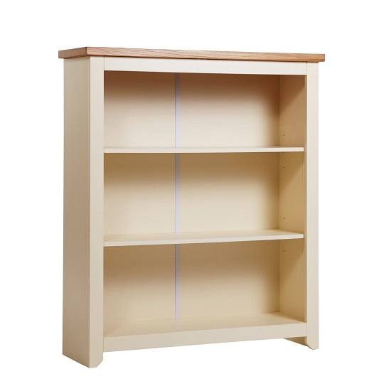 Jameson Low Bookcase In Cream And Oak With 2 Shelf