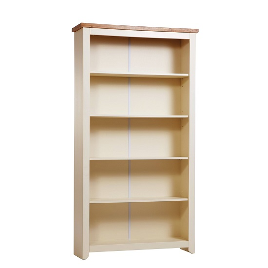 Jameson Tall Bookcase In Cream And Oak With 4 Shelf