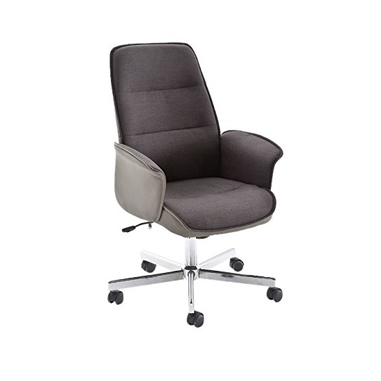 Aaron Office Chair In Grey Brown Fabric And Cream PU With Wheels