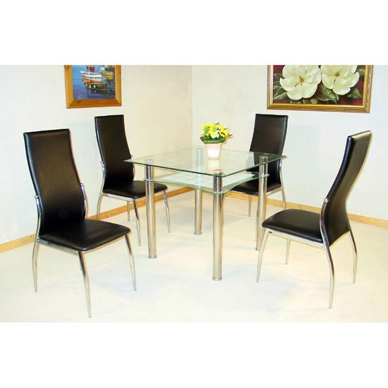 Jazo Clear Glass Dining Table with 4 Black Dining Chairs