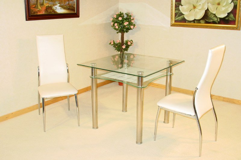 Jazo clear and frosted glass table and 2 dining chairs 1635 for Best deals on dining tables and chairs