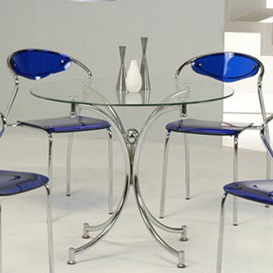 Jenny Round Dining Table In Clear Glass With Chrome Legs