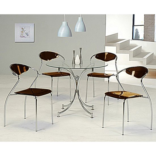 Jenny Glass Dining Table With 4 Coffee Dining Chairs