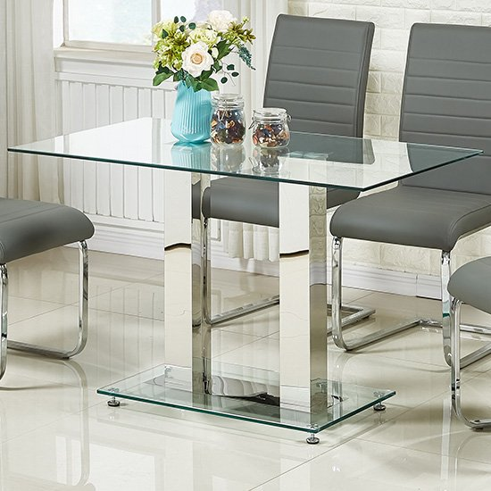 Jet Small Dining Table Rectangular In Clear Glass_1