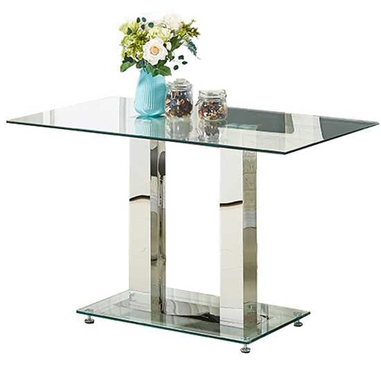 Jet Small Dining Table Rectangular In Clear Glass_2