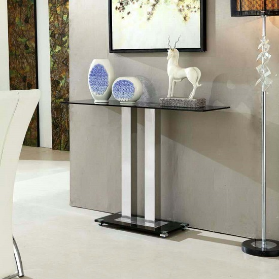 Photo of Jet modern console table rectangular in black glass