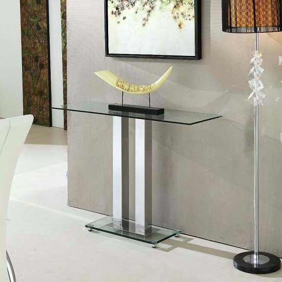 Jet Trendy Console Table Rectangular In Clear Glass