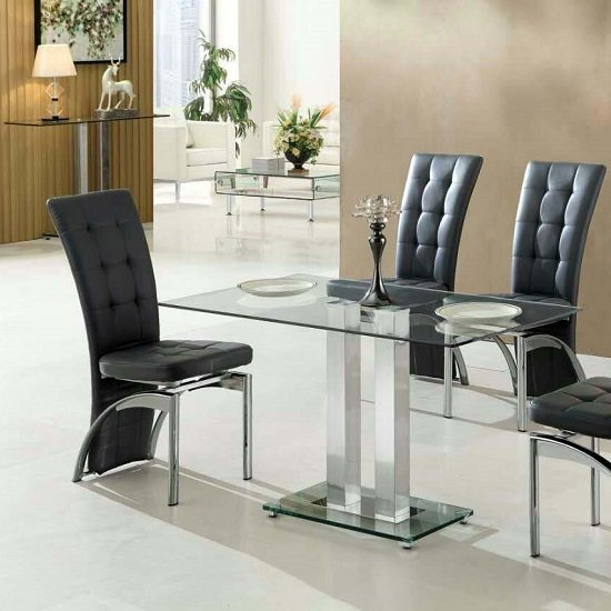 glass tables for dining room jet small dining table rectangular in clear glass 27422 7394