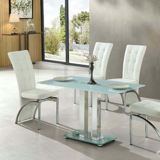Jet small glass dining table rectangular in white 27421 for Small rectangle glass dining table