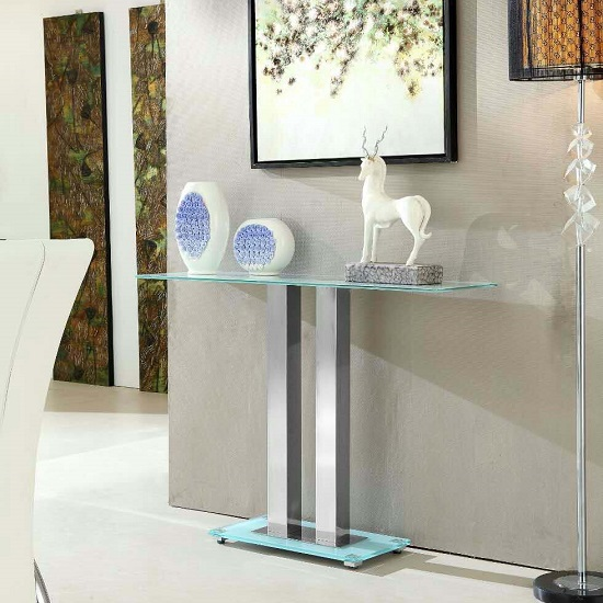 Jet Stylish Console Table Rectangular In White Glass