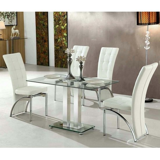 Jet Small Clear Glass Dining Table With 4 Ravenna White