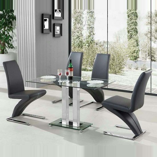 Jet Small Clear Glass Dining Table With 4 Demi Chairs In Grey