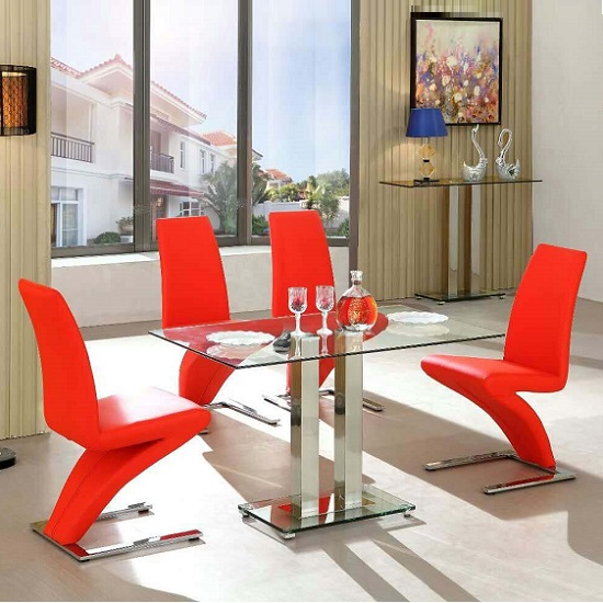 Jet Small Dining Table In Clear Glass With 4 Demi Chairs In Red