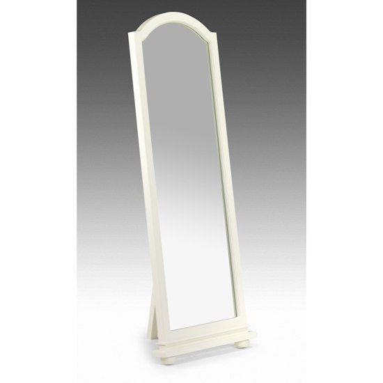 Josephine white standing bedroom mirror 5129 furniture in for Standing mirror for bedroom
