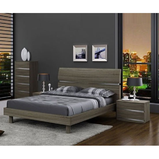 Janet Modern Wooden Effect King Size Bed In Oak