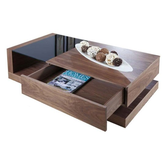 Grace Coffee Table In Walnut With Black Glass And 1 Drawer
