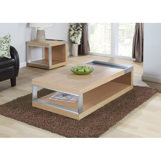 Happy Coffee Table Rectangular In Oak And Glass