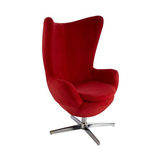 Milden Novelty Chair Revolving In Red With Chrome Base