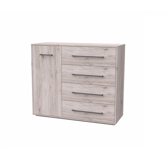 Armado Drawers Chest In Sand Oak With 4 Drawers And 1 Door