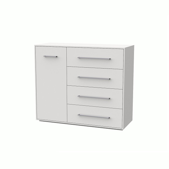 Armado Drawers Chest In Gloss White With 4 Drawers And 1 Door