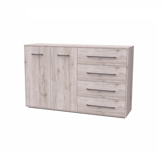Armado Wooden Sideboard In Sand Oak With 2 Doors 4 Drawers
