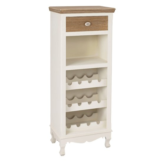 Julian Wooden Display Cabinet In Cream With Wine Rack