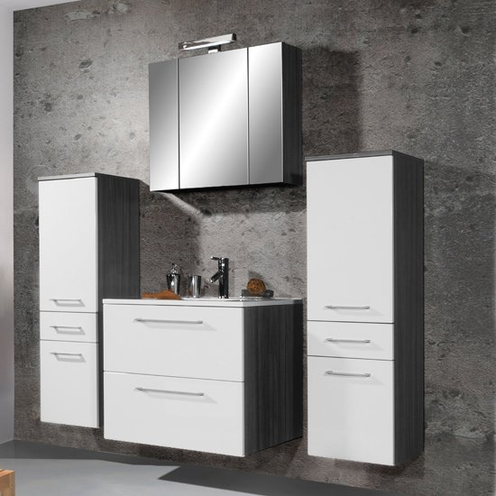 Juliana Bathroom Furniture Collection in Carbon Ash Gloss White