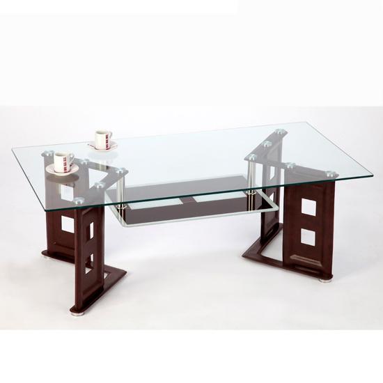 Juliette Coffee Table In Clear Glass Top Brown PU Legs  : Juliet coffee table brown from furnitureinfashion.net size 550 x 550 jpeg 90kB